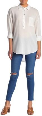 MelloDay Long Sleeve Gauze Tunic Shirt (Petite)