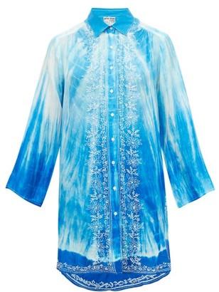 Juliet Dunn Oversized Tie-dye Silk Shirt - Blue Multi