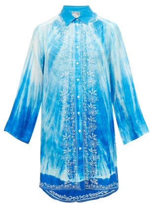Juliet Dunn Oversized Tie-dye Silk Shirt - Womens - Blue Multi