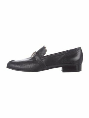 Prada Horsebit Accent Leather Loafers Black