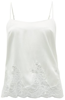 Fleur of England Signature Lace-trimmed Silk-blend Camisole - White