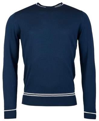 John Smedley Turnbull Merino Tipped Collar Jumper Colour: BLUE, Size: