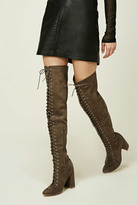 Forever 21 FOREVER 21+ Lace-Up Thigh-High Boots