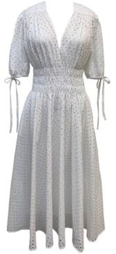 Thumbnail for your product : Taylor Petite Cotton Eyelet Midi Dress