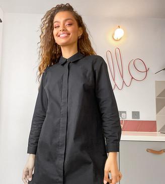 ASOS DESIGN Petite cotton mini shirt dress in black