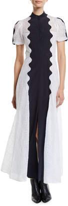 Valentino Short-Sleeve Button-Front Organdy Midi Dress