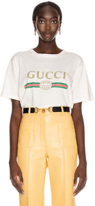 Gucci Logo Short Sleeve T Shirt in Natural White | FWRD