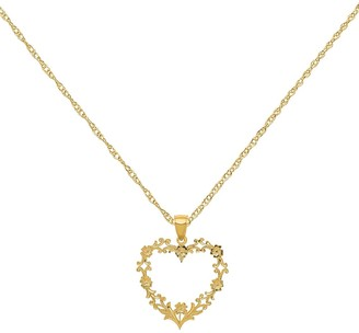 14K Yellow Gold Polished Large Floral Heart Pendant with 18-inch Cable Rope Chain Necklace by Versil