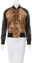 R 13 Leather Pony Hair-Paneled Jacket