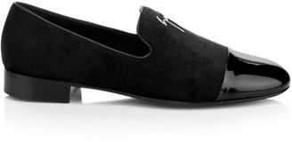Giuseppe Zanotti Patent-Toe Velvet Loafers