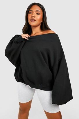boohoo Plus Slash Neck Balloon Sleeve Sweat Sweater