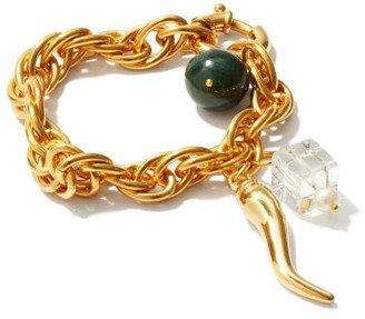 Timeless Pearly Chilli & 24kt Gold-plated Charm Bracelet - Gold Multi