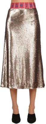 Stella Jean Sequined Stretch Midi Skirt