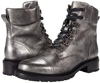 Frye Samantha Hiker (Silver Full Grain Metallic) Women's Lace-up Boots