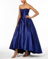 Betsy & Adam Petite Strapless High-Low Gown