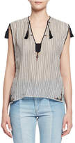 Etoile Isabel Marant Judith Sleeveless Striped Tassel Top, Ecru