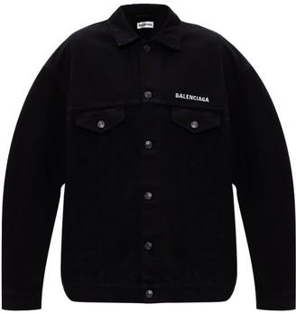 Balenciaga Black Denim Buttoned Jacket