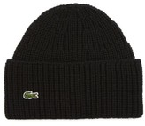 Lacoste Men's Ribbed Wool Beanie - Black