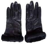 UGG Shearling-Trimmed Leather Gloves