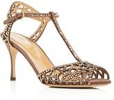 Sergio Rossi Tresor Swarovski Crystal T-Strap High Heel Sandals