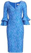Theia Cloque Bell-Sleeve Dress