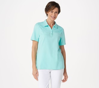 Denim & Co. Jersey Polo Collar Top with Eyelet Lace Trim