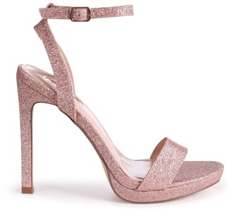 Linzi HIGHER LOVE - Rose Gold Glitter Open Back Barely There Stiletto Sandal