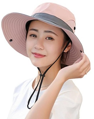 Wennmole Womens Ponytail UV Protection Wide Brim Sun Hats Outdoor Foldable Mesh Beach Hiking Fishing Cap (Pink)