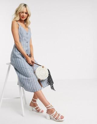 Gilli button down midi dress in blue and white stripe