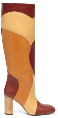 Ssōne Ssone - Tina Knee-high Patchwork-leather Boots - Womens - Burgundy Multi