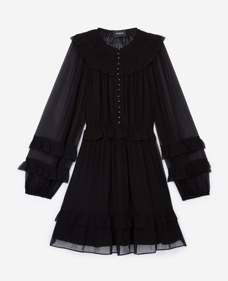 The Kooples Short black dress with smocking and frills