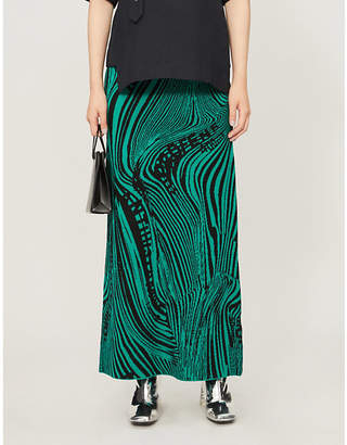 Rokh Psych high-waist printed stretch-knit maxi skirt