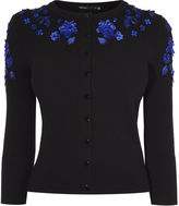 Karen Millen Floral Applique Cardigan - Black/multi