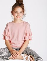 Marks and Spencer Crinkle Frill Sleeve Top (3-14 Years)