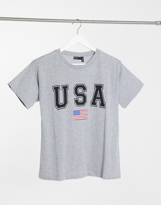 ASOS DESIGN T-shirt with USA in gray marl