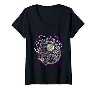 Womens Floating in Space Astronaut Space Explorer Graphic V-Neck T-Shirt