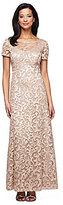 Alex Evenings Sequin Detail Short Sleeve Illusion Neck Long A-Line Dress