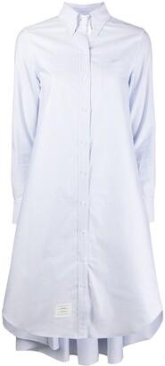 Thom Browne Light Blue Placketing Oxford Pleat Back Shirtdress