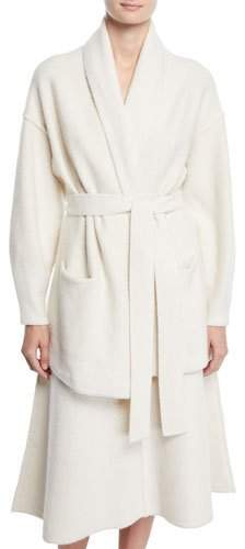Co Shawl-Collar Belted Felted Wool Cardigan Sweater
