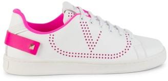 Valentino Rockstud Neon-Trim Leather Sneakers