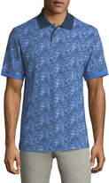 Bugatchi Two-Button Stipple-Print Polo Shirt with Contrast Collar