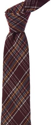 Dunhill Burgundy Plaid Wool & Silk-Blend Tie