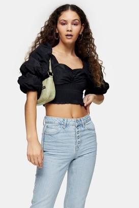 Topshop Black Puff Sleeve Taffeta Shirt
