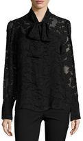 MICHAEL Michael Kors Tie-Neck Foliage Jacquard Lace Blouse