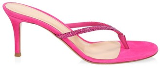Gianvito Rossi India Crystal-Embellished Suede Thong Sandals