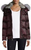 Andrew Marc Short Fur-Trim Down Jacket
