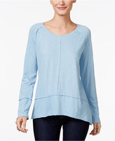 Style and Co Raw-Edge Scoop-Neck Top, Only at Macy's