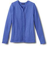 Classic Women's Scallop Cardigan Sweater-Brown
