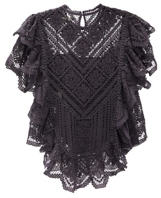 Isabel Marant Zainos Ruffled Crocheted-lace Top - Black
