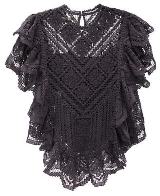 Isabel Marant Zainos Ruffled Crocheted-lace Top - Womens - Black